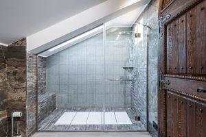 A unique loft diagonal glass shower