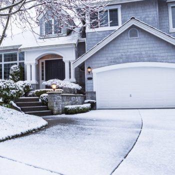Frozen garage door in the winter