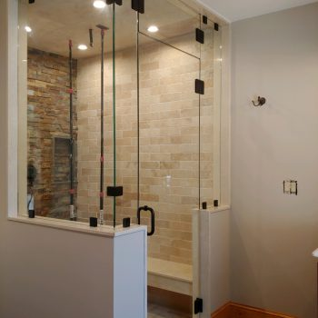A glass shower enclosure we installed in Alton