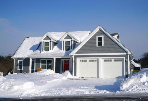 snow on a garage door